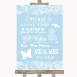 Blue Burlap & Lace Guestbook Advice & Wishes Mr & Mrs Customised Wedding Sign
