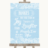 Blue Burlap & Lace Hankies And Tissues Customised Wedding Sign