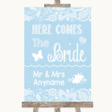 Blue Burlap & Lace Here Comes Bride Aisle Sign Customised Wedding Sign
