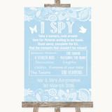 Blue Burlap & Lace I Spy Disposable Camera Customised Wedding Sign