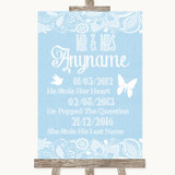 Blue Burlap & Lace Important Special Dates Customised Wedding Sign