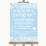 Blue Burlap & Lace Instagram Photo Sharing Customised Wedding Sign