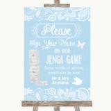 Blue Burlap & Lace Jenga Guest Book Customised Wedding Sign
