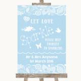 Blue Burlap & Lace Let Love Sparkle Sparkler Send Off Customised Wedding Sign