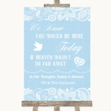 Blue Burlap & Lace Loved Ones In Heaven Customised Wedding Sign