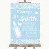 Blue Burlap & Lace Message In A Bottle Customised Wedding Sign