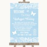 Blue Burlap & Lace No Phone Camera Unplugged Customised Wedding Sign