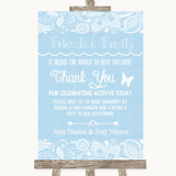 Blue Burlap & Lace Photo Guestbook Friends & Family Customised Wedding Sign