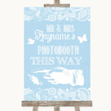 Blue Burlap & Lace Photobooth This Way Left Customised Wedding Sign