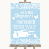 Blue Burlap & Lace Photobooth This Way Right Customised Wedding Sign