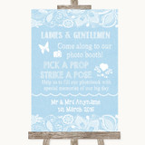 Blue Burlap & Lace Pick A Prop Photobooth Customised Wedding Sign