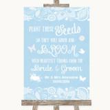 Blue Burlap & Lace Plant Seeds Favours Customised Wedding Sign