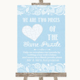 Blue Burlap & Lace Puzzle Piece Guest Book Customised Wedding Sign