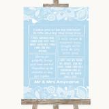 Blue Burlap & Lace Romantic Vows Customised Wedding Sign