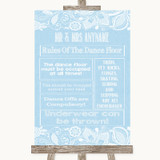 Blue Burlap & Lace Rules Of The Dance Floor Customised Wedding Sign