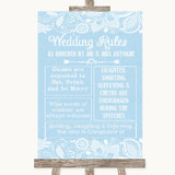 Blue Burlap & Lace Rules Of The Wedding Customised Wedding Sign