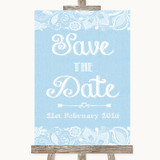 Blue Burlap & Lace Save The Date Customised Wedding Sign