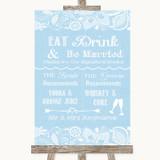 Blue Burlap & Lace Signature Favourite Drinks Customised Wedding Sign