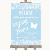 Blue Burlap & Lace Signing Frame Guestbook Customised Wedding Sign