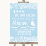 Blue Burlap & Lace Toiletries Comfort Basket Customised Wedding Sign