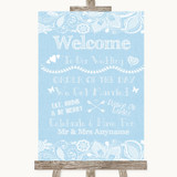Blue Burlap & Lace Welcome Order Of The Day Customised Wedding Sign