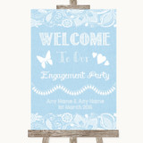 Blue Burlap & Lace Welcome To Our Engagement Party Customised Wedding Sign