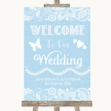 Blue Burlap & Lace Welcome To Our Wedding Customised Wedding Sign