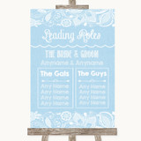 Blue Burlap & Lace Who's Who Leading Roles Customised Wedding Sign
