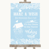 Blue Burlap & Lace Wishing Well Message Customised Wedding Sign