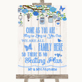 Blue Rustic Wood All Family No Seating Plan Customised Wedding Sign