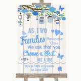 Blue Rustic Wood As Families Become One Seating Plan Customised Wedding Sign