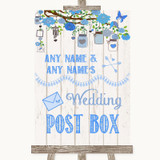 Blue Rustic Wood Card Post Box Customised Wedding Sign