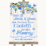 Blue Rustic Wood Confetti Customised Wedding Sign