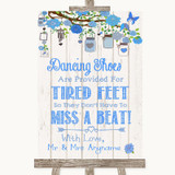 Blue Rustic Wood Dancing Shoes Flip-Flop Tired Feet Customised Wedding Sign