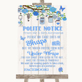 Blue Rustic Wood Don't Post Photos Facebook Customised Wedding Sign
