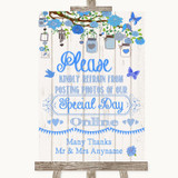 Blue Rustic Wood Don't Post Photos Online Social Media Customised Wedding Sign