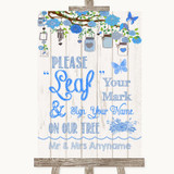 Blue Rustic Wood Fingerprint Tree Instructions Customised Wedding Sign