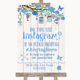 Blue Rustic Wood Instagram Photo Sharing Customised Wedding Sign