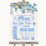 Blue Rustic Wood Jenga Guest Book Customised Wedding Sign
