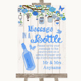 Blue Rustic Wood Message In A Bottle Customised Wedding Sign