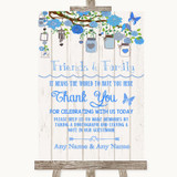 Blue Rustic Wood Photo Guestbook Friends & Family Customised Wedding Sign