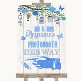 Blue Rustic Wood Photobooth This Way Left Customised Wedding Sign