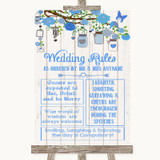 Blue Rustic Wood Rules Of The Wedding Customised Wedding Sign