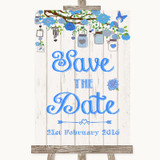 Blue Rustic Wood Save The Date Customised Wedding Sign