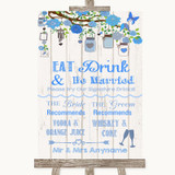 Blue Rustic Wood Signature Favourite Drinks Customised Wedding Sign