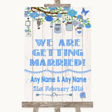 Blue Rustic Wood We Are Getting Married Customised Wedding Sign