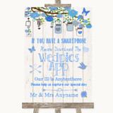 Blue Rustic Wood Wedpics App Photos Customised Wedding Sign