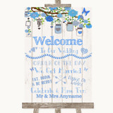 Blue Rustic Wood Welcome Order Of The Day Customised Wedding Sign