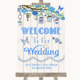 Blue Rustic Wood Welcome To Our Wedding Customised Wedding Sign