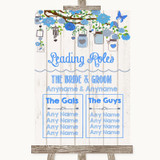Blue Rustic Wood Who's Who Leading Roles Customised Wedding Sign